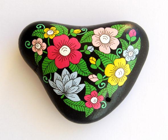 galet peint grand coeur fleuri-6.5x9-19