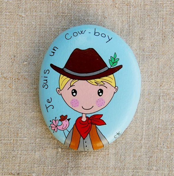 galet peint cow boy-6.8x5.5-19