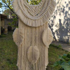macramé 3 plumes écru-29x58 cm