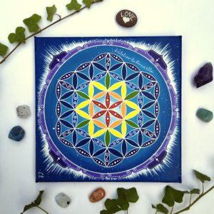 peinture sur toile-fleur de vie- cosmos couleurs chakras
