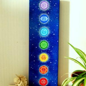 peinture sur toile Cosmos-chakras-60x20