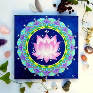 peinture sur toile cosmos-fleur de lotus