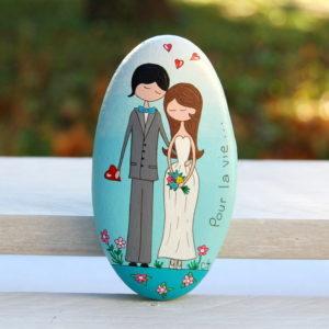 galet peint couple d'amoureux-mariage