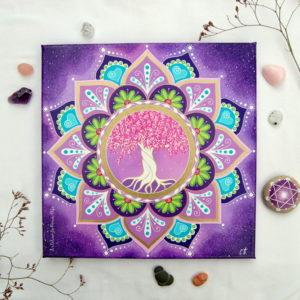 peinture sur toile cosmos-arbre de vie-mandala