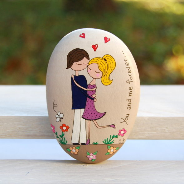 galet peint amoureux-saint valentin