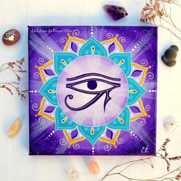 peinture sur toile cosmos oeil d'horus-protection-talisman-amulette