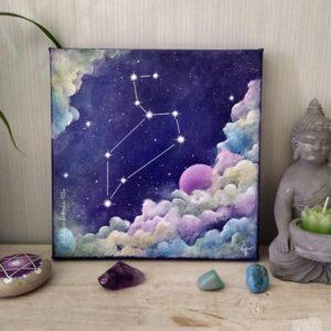 peinture sur toile constellation lion sur fond cosmique