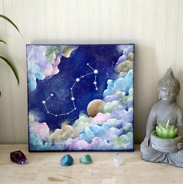 peinture sur toile constellation scorpion sur fond cosmique