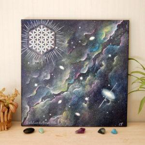 peinture sur toile univers et fleur de vie-40x40