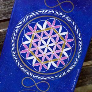 peinture sur toile-fleur de vie-fleur de lotus-om