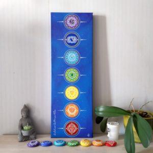 peinture sur toile 7 chakras fond cosmos-20x60