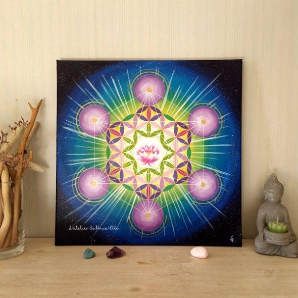 peinture sur toile-cube métatron-fleur de vie-fleur de lotus-40x40
