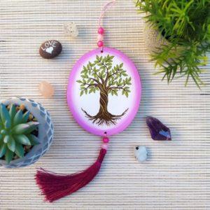 suspension zen rondelles de bois-arbre de vie